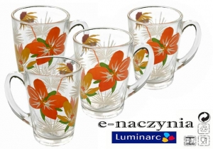 Kubki szklane 320ml Luminarc POP FLOWERS ORANGE (kpl. 6szt)